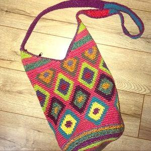 Vintage authentic 70s crochet bucket colorful bag